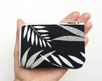 Women's wallet pocket sized card holder vegan coin purse hand printed.