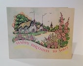 Vintage Cottage garden Birthday card (unused)