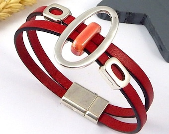 figurative red leather with beads and silver plated clasp strap
