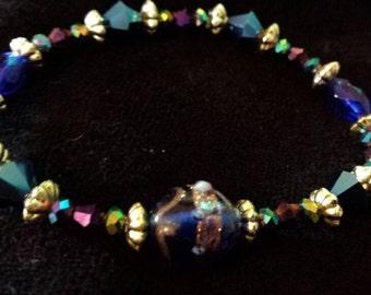 Purple and Blue Glass beaded bracelet