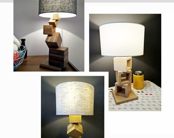 hand made wooden lamp, solid wood, design - weeding gift wooden lamp