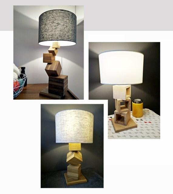 lampe fait main bois massif design unique id e cadeau. Black Bedroom Furniture Sets. Home Design Ideas