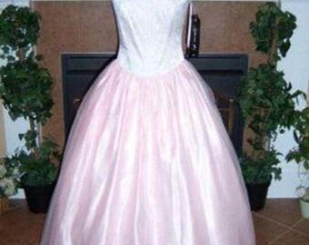 Vintage Formal Pink & Silver Tulle Gown by STEVIE K