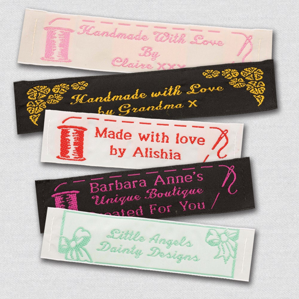 50 personalized sewing labels 1 wide 100 woven for Sew in craft labels