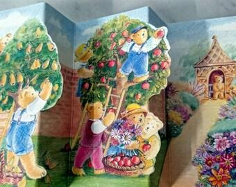 Little Bear Concertina Notecard. A Teddy in a Pear Tree