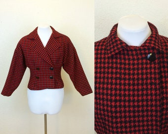 80s Red & Black Houndstooth Jacket - Double Breasted Jacket - 80s Jacket - 80s Red Jacket - Ilie Wacs Jacket - Medium