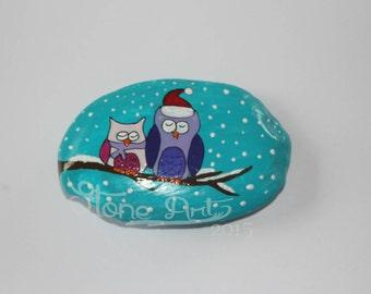 hand painted owl pepple winter