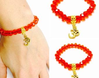 Om Bracelet - Red Om Bracelet - Red Crystal Om Bracelet - Red Crystal Bracelet - Om Charm Bracelet - Gold Om Bracelet - Yoga Bracelet - Om