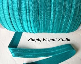 """Jade Fold Over Elastic, 5/8"""" FOE, Elastic Hair Tie and Headband Supplies, Elastic by the Yard"""