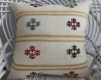 "vintage throw pillow 18x18 western pillow floral antique rug modern pillow designer pillow kilim pillow 18x18 handwoven kilim 18""x18"" 337"