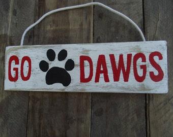 Georgia Bulldog hand-painted sign | Bulldog sign | University of Georgia football sign | Georgia Dawgs football sign | Dawgs wall decor