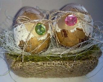 Easter Decoration - Decoupaged and Embellished Eggs in Nest
