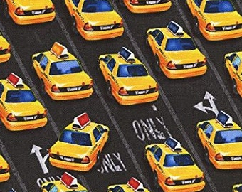 New York City Taxi Cab Fabric, Home Decor Quilt or Craft