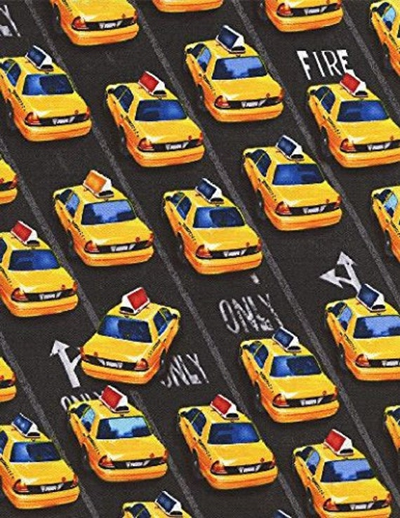 New York City Taxi Cab Fabric Home Decor Quilt Or Craft