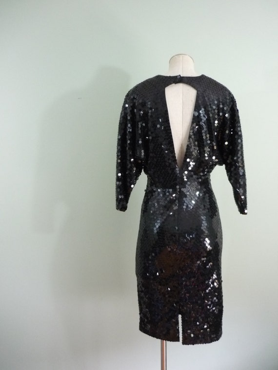 Sequined Black Backless Dress / 1980s Slinky Cocktail Dress / Open Back, Dolman Sleeves, Ruched Bodice / Modern Size Extra Small XS, Small S