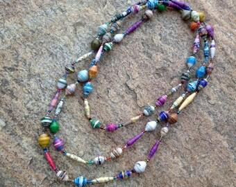Paper Bead Necklace #1 Handmade Uganda Multi Colored Good Cause Non Profit Vibrant Purple Blue