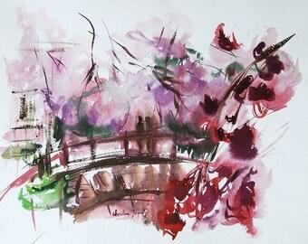 Watercolour of a bridge in flowers, original watercolor, original painting, cherry blossom, bridge, extra fine watercolours, paper 100% cotton