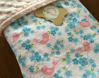 Handmade Baby Blanket Minky Dots with Birds