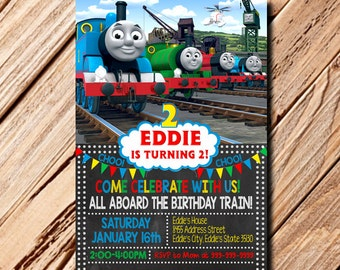 Thomas The Train Invitation, Thomas Invitation, Thomas Birthday Invitation, Thomas The Train, Thomas The Train Birthday, Chalkboard