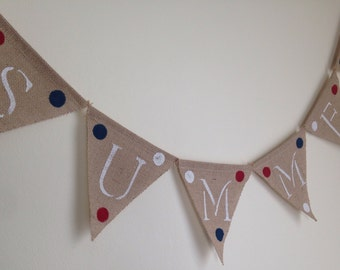 Summer Banner-Summer Burlap Banner-Patriotic Banner-Red, White and Blue-Free Shipping