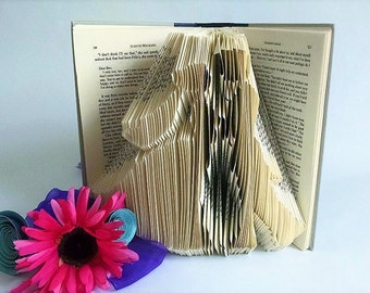 Gift for bride - Bride and Groom Silhouette - Wedding Gift - Folded Book Art Sculpture