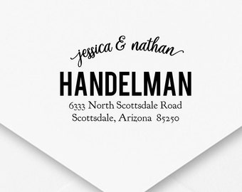 Self-Inking Address Stamp, Wedding Address Stamp, Engagement Gift, Housewarming Gift, Thank You Cards, Cursive Bold Cute Font