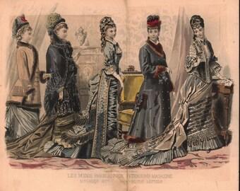 Reading the Letters Victorian Dress Fashion Plate 1877 Paris Color Engraving