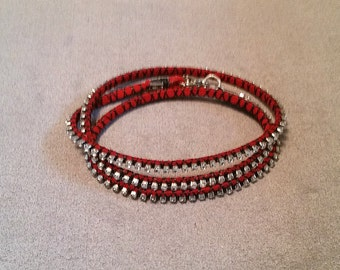 Red Suede Crystal Cup Chain Wrap Bracelet