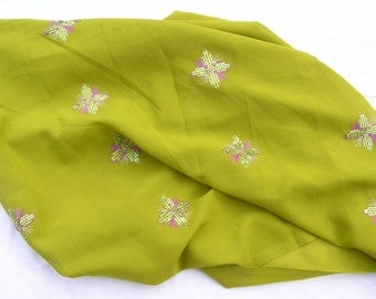 1.1m x 100cm W chartreuse green large sequin motif crepe dress fabric material