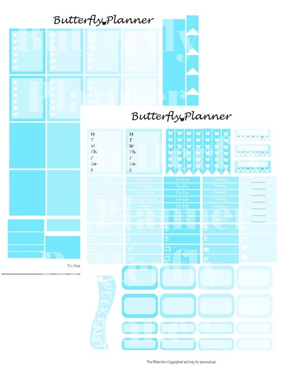 Baby Blue Printable Planner Stickers, 2 Pages, Digital Download