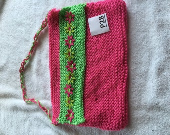 pink and green purse P28