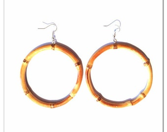 Tiki Bamboo Natural Hoop Earrings