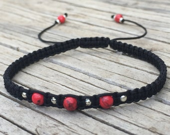 Red Turquoise Macrame Bracelet, Beaded Anklet, Adjustable Cord Macrame Friendship Bracelet, Gift for Her, Macrame Jewelry, Braided Bracelet