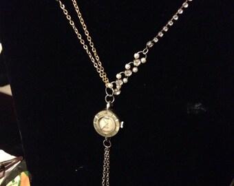 Upcycled vintage watch, links, pearls, rhinestones and tassel - B.B. Manning