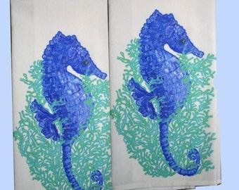 Seahorse Flour Sack Towels, set of 2