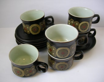 Denby Arabesque Six Cups and Saucers