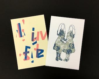 Letterpress Fine Art Prints, 2 Pack