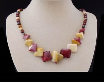 Mookait Jasper, beads and squares, necklace, chain, necklace, silver plated clasp