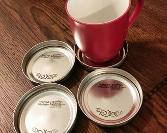 Mason Jar Lid Coasters! Set of 4 Mason Lid Coasters. Metal Coasters. Wide Mouth Mason Lids.