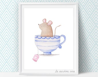 Mouse print nursery illustration, Woodland animals theme, Nursery print decor, Mouse poster, Nursery wall art, Tea cup print