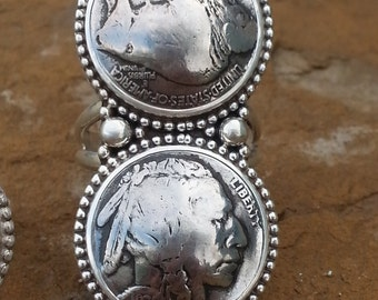 indian & buffalo nickle ring set in sterling silver