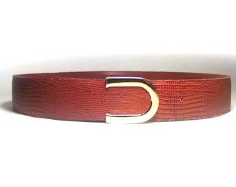Vintage Lizard Grain Leather Belt