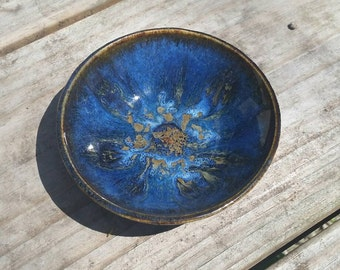 Shallow Blue and Gold Bowl