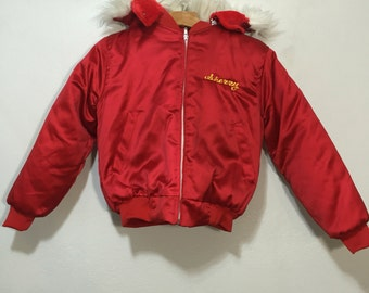80's vintage korea souvenir tour jacket hooded jacket red sateen womens size xs
