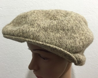 70's vintage knit hat gray wool
