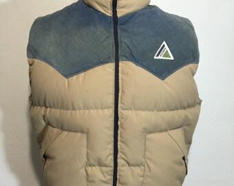 80's vintage yoke down vest cotton corduroy mens size L