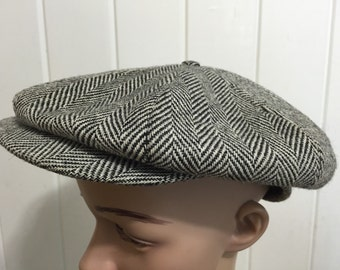 60's vintage wool newsboy cap hat mens gray size 7 1/8