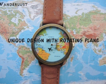 Unisex watch, unique design with rotating plane, black color,map watch,world map watch,uur,