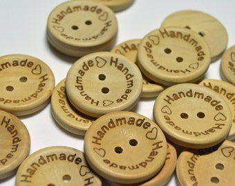 Handmade round wooden buttons  - WB037