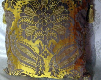Decorative Pillow from Emperor's Collection-Old Gold Yellow & Grey Damascus Silk